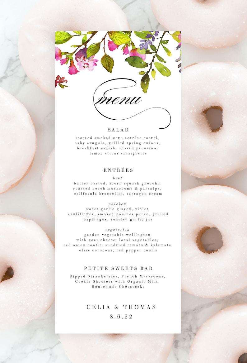 Spring Garden Wedding Menu Template Floral Bar Menu Editable image 0