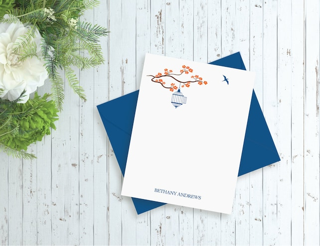 Personalized note cards, Printed cards or Digital File - Birds Blossoms