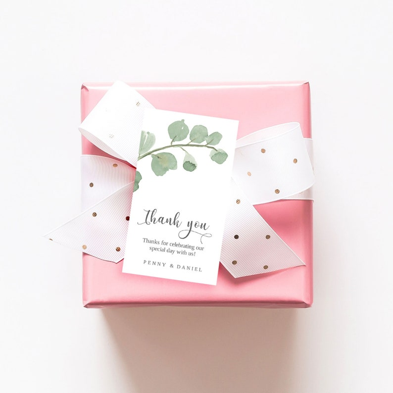 Wedding Favor Tag Template Greenery tag Printable Favor Tag image 0