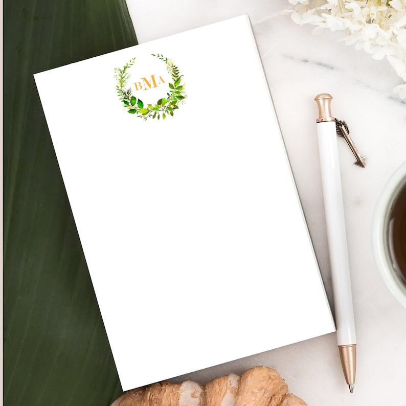 Greenery Personalized Notepad Custom Letterhead Stationery image 0