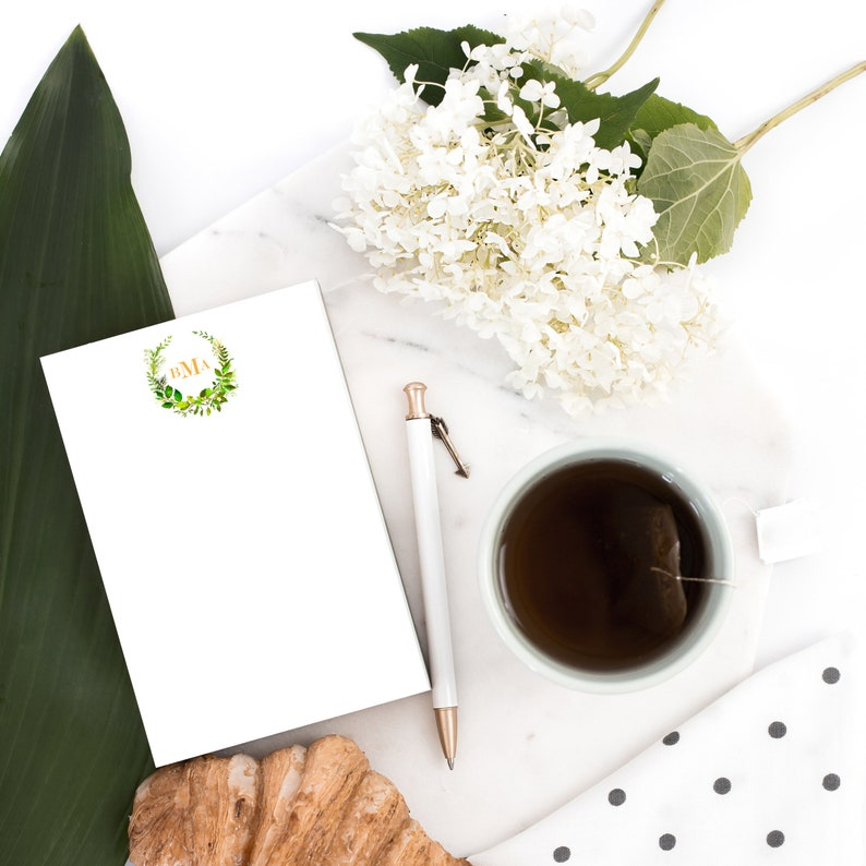 Greenery Wreath Personalized Note Cards Monogram Thank You image 0