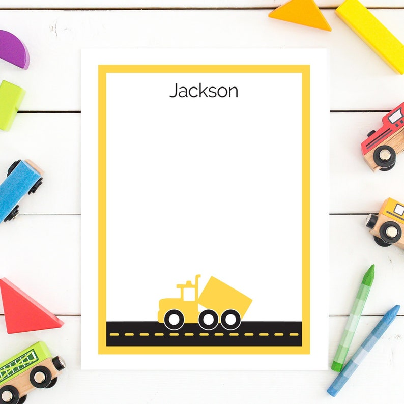 Personalized stationery for boy Yellow Dump Truck Note cards image 0