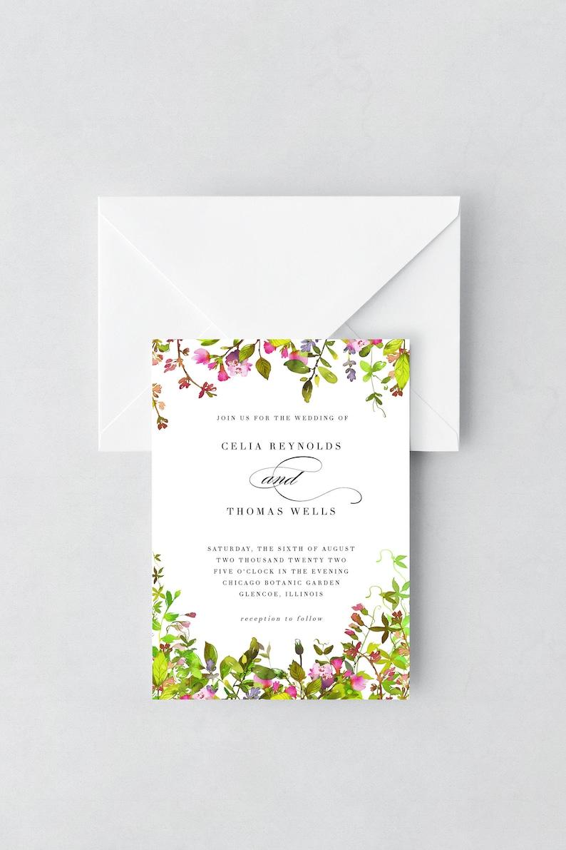 Spring Garden Wedding Invitation Template Summer Floral image 0