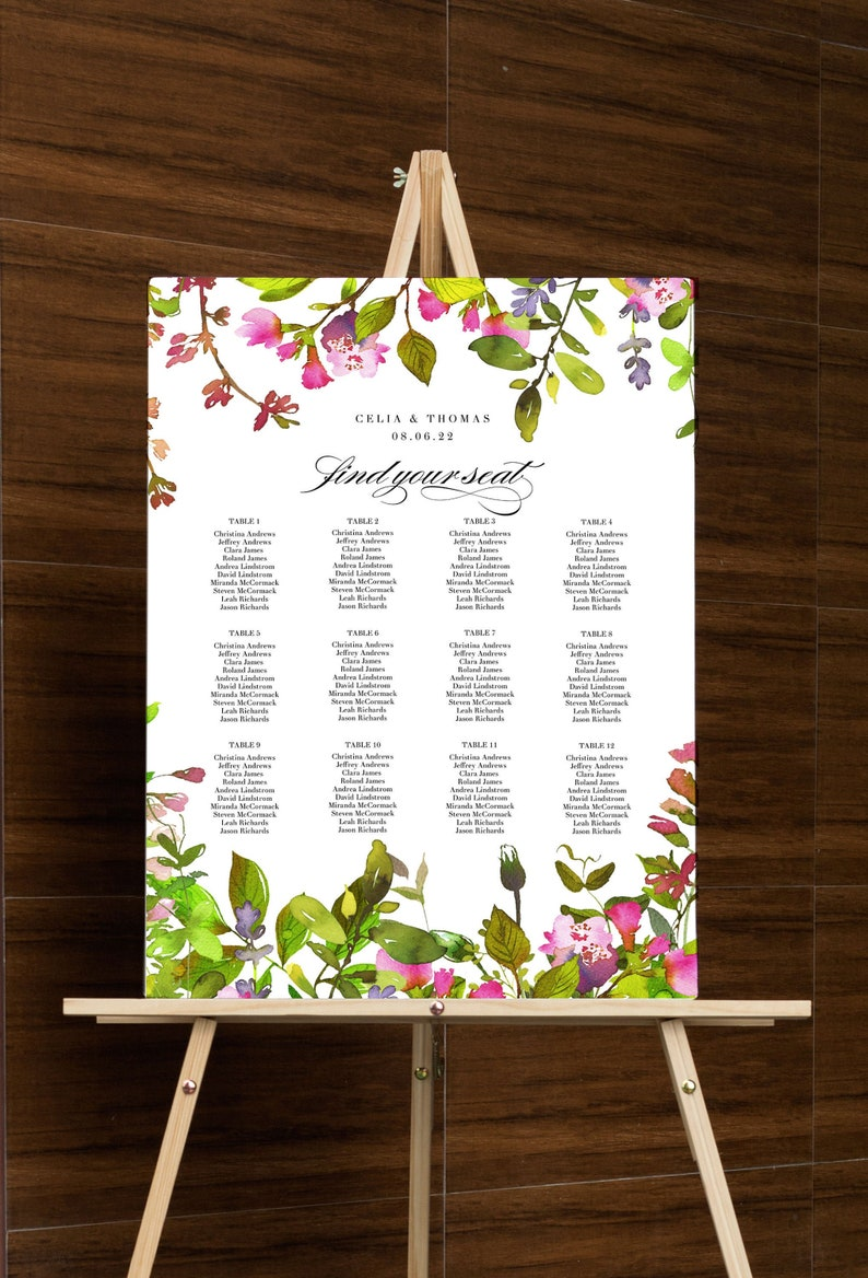Wedding Seating Chart Template Printable Floral Seating Sign image 0