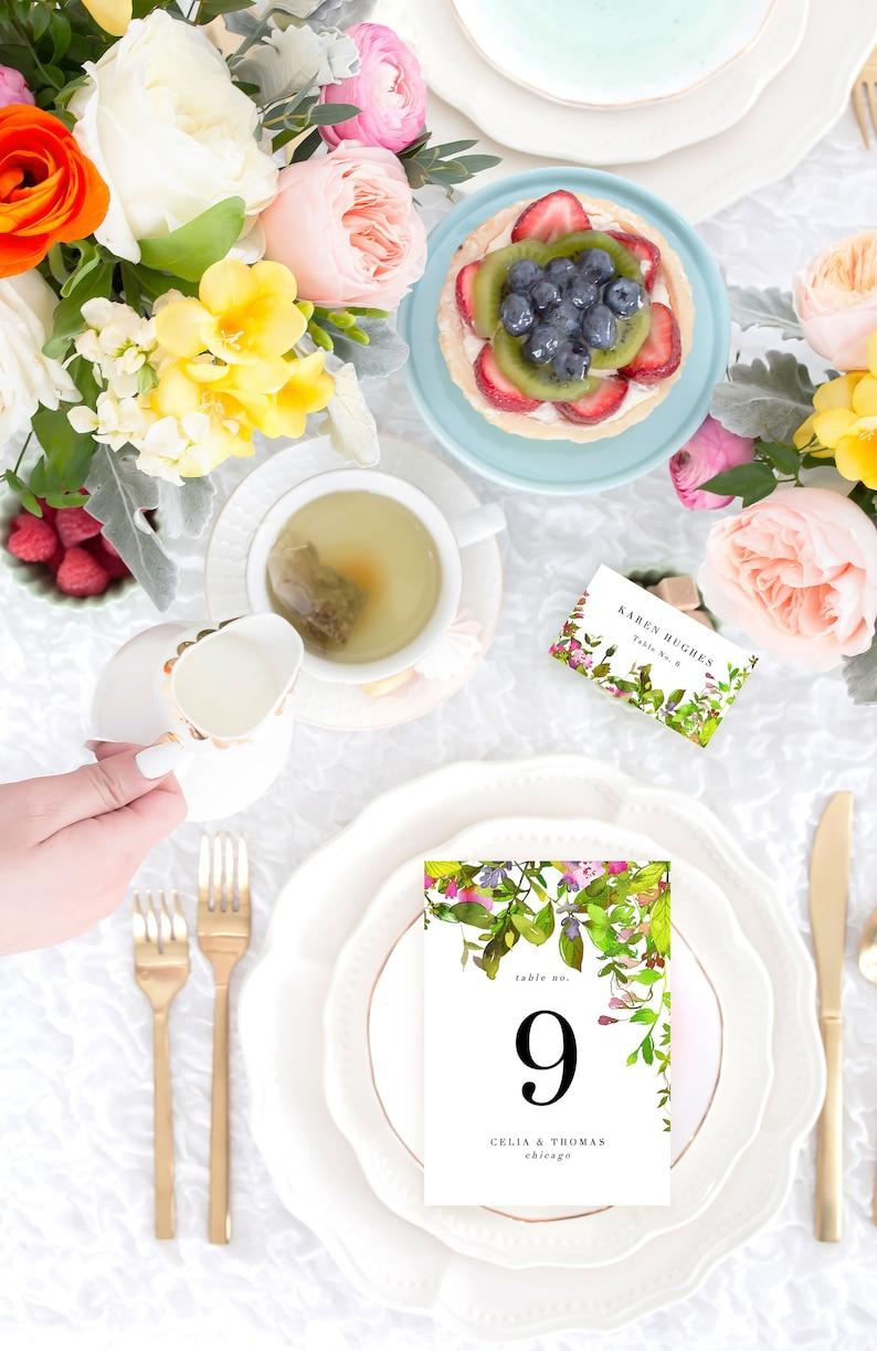 Floral Table Numbers Template Elegant Wedding Table Numbers image 0