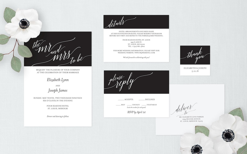 Calligraphy Wedding Invitation Set Printable Wedding image 0