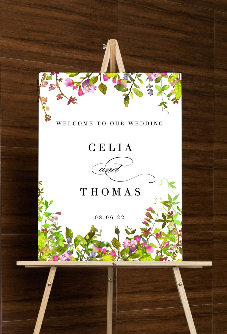Wedding Welcome Sign Template Floral Greeting Sign Editable image 0