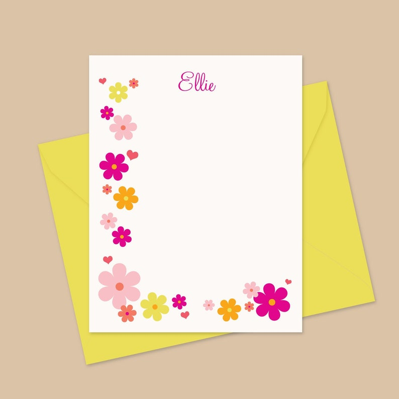 Floral Note Cards Personalized writing stationery Printed image 0