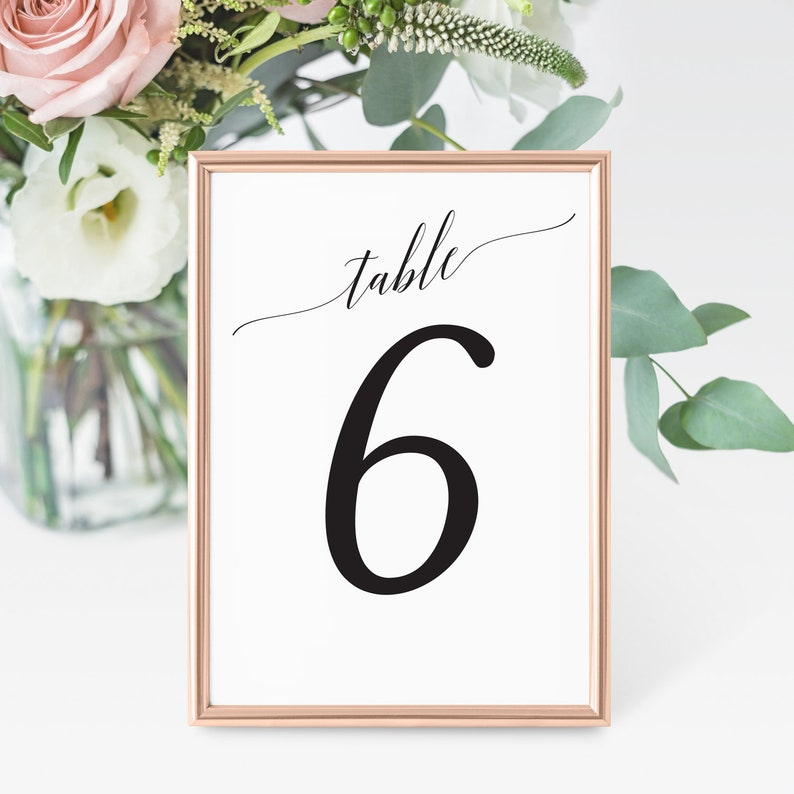 Printable Table Numbers Wedding Table Numbers Party Table image 0