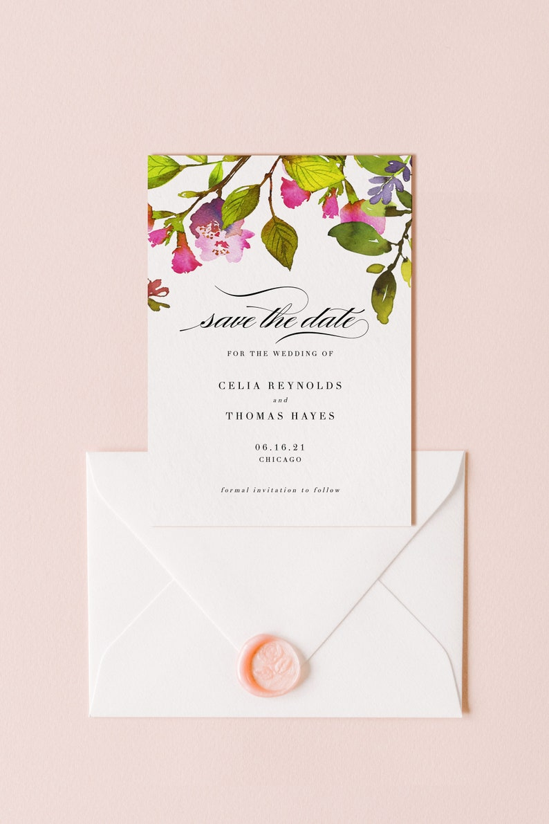 Save the Date Template Printable Wedding Announcement image 0