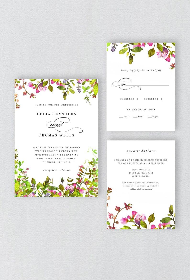 Garden Wedding Invitation Suite Template Instant Download image 0