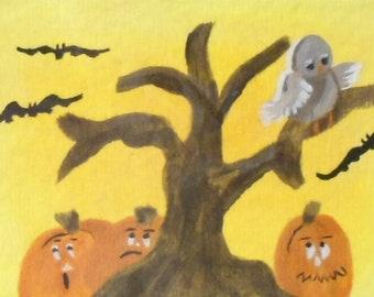 ACEO Original Halloween Acrylic Miniature Painting