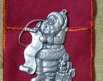 VINTAGE Pewter SANTA AVON Christmas Ornament 1996 w/Box & Red Pouch