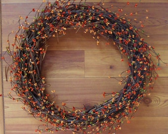 Grapevine  Pip Berry Wreath Fall  Thanksgiving Handmade 18""