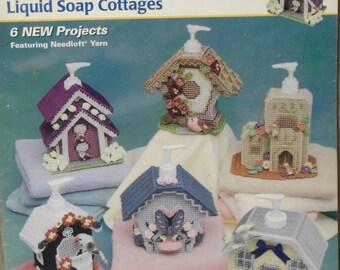 Plastic Canvas Annie's Attic Pattern Book Liquid Soap Cottages