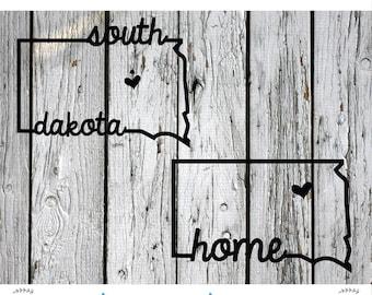 SVG, PNG, Cut File, South Dakota Home Sweet Home, Silhouette Cut File, Cricut Cut File, Heart, State, South Dakota state, SD svg