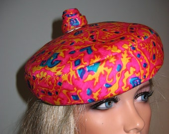 Vintage 60's Sally Victor hat.  Hot Pink Silk with red blue and gold. mad men.