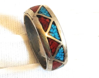 Coral & Turquoise Silvertone Ring.  Vintage1970.  Native American Band.