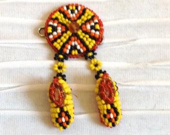 Beaded Moccasin Pin Brooch.  Vintage 1970.  Native American.  Western, Rockabilly.  Yellow Orange & Black Beads.