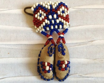 Beaded Moccasin Pin Brooch.  Vintage 1970.  Native American.  Western, Rockabilly.  Red, White & Blue Beads.
