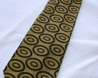d6b799e8285e 60's Vintage Phat Tie. Necktie. Gold with black. Mod, Rock & Roll, Hip.  Wide, Fat Tie.
