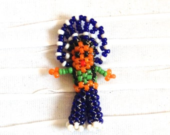 Beaded Chief Pin Brooch.  Vintage 1970.  Native American.  Western, Rockabilly.  White & Blue Beads.