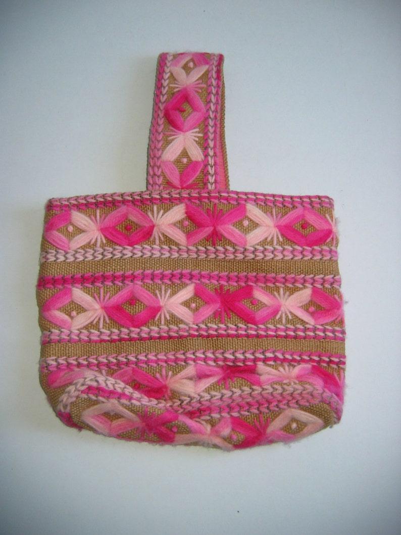 handbag Boho Vintage 1970. Hippie tote purse Unique bag pastel pink colors Burlap and Yarn Totebag