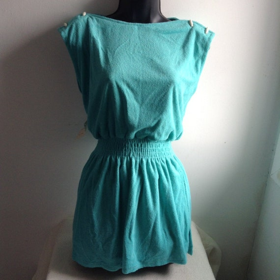 Vintage, 1970's Swimsuit, Romper.  Turquoise Blue