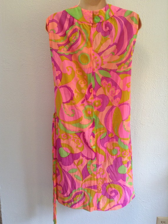 Psychedelic print dress. Vintage 1960 New old sto… - image 4