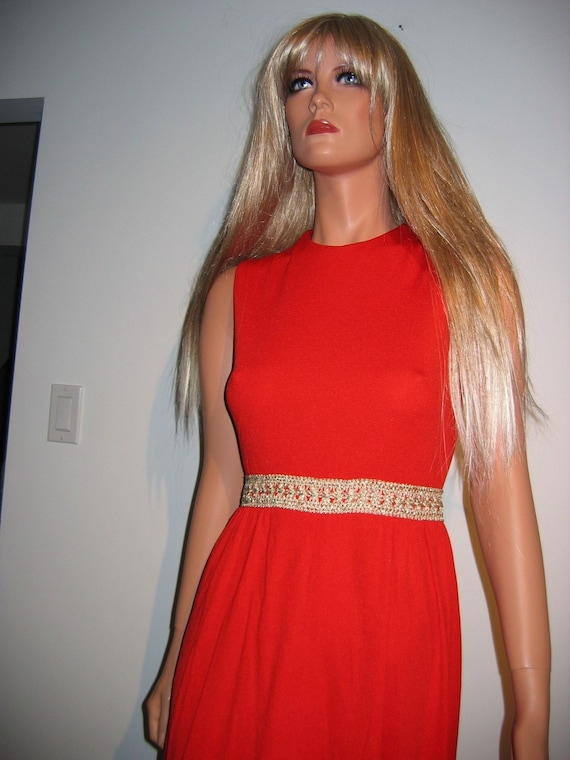 Size 9. Groovy 70/'s Red Hot lounge Dress HB jrs Vintage  Hippie of California New old stock Red