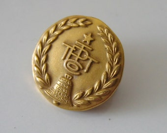 Vintage 14K gold Pin.  Pacific Telephone & Telegraph Co.   LGB.  Vintage from the 60's.  10 Year Service Pin.