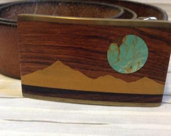 Kenneth Reid Belt Buckle.  Exotic Wood, Brass, & Turquoise.  Leather Belt   Rockabilly, Boho, Hippie.