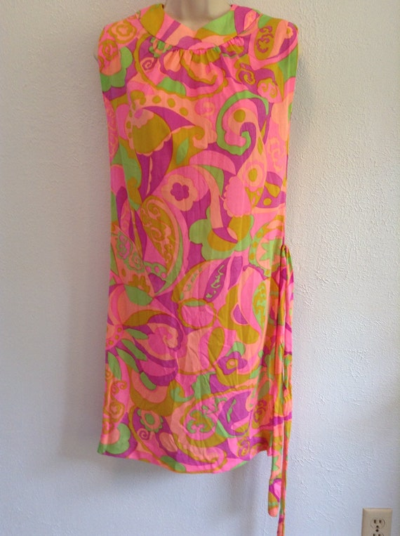 Psychedelic print dress. Vintage 1960 New old sto… - image 1