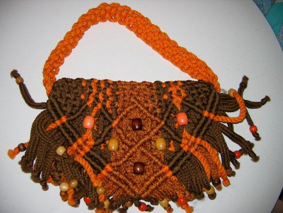 Boho, Hippie, Macrame bag, handbag, purse, 1970's.