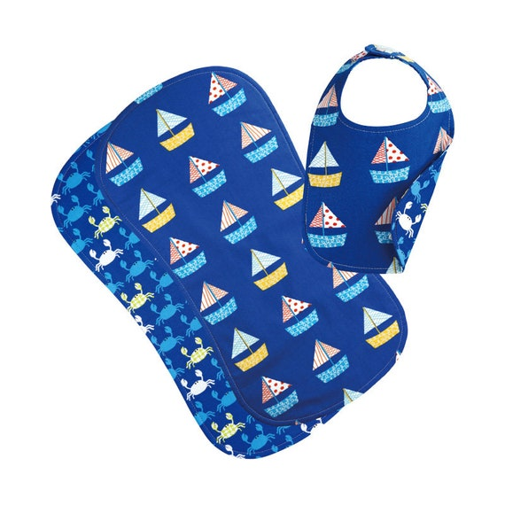 Reversible Phoebe Bib and Burp Cloth Gift Set, Sail Boat/Crab
