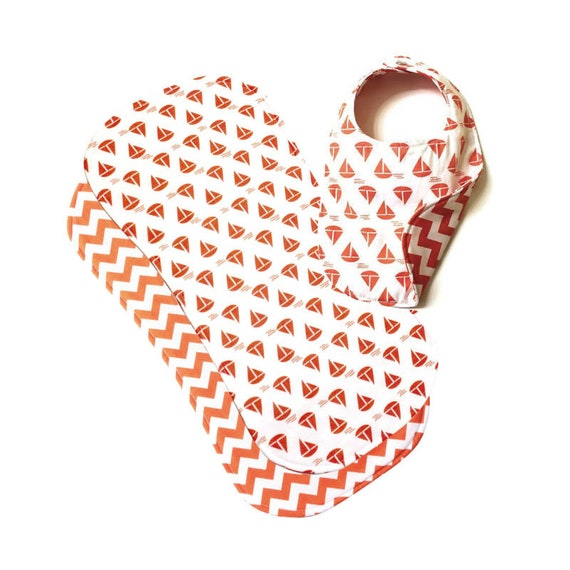 Reversible Phoebe Bib and Burp Cloth Gift Set, Sail Boat/Orange Chevron