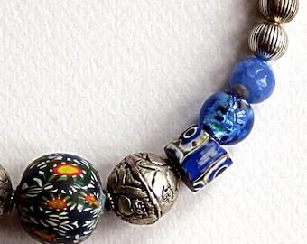 "African trade beads,JATIM,TIBET REPOUSSEE,17 3/4"" necklace,antique Venetian millefioris,Murano foil glass,lapis lazuli,sky blue,silver,navy"