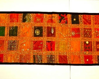 """INDIA RAJASTHAN WALL Hanging,59""""x21"""",table runner,vintage fiber art,sequins,mirrors,embroidery,couched metallic threads,red,apricot,gold,tan"""