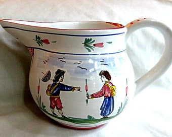 """SBERNA DERUTA PITCHER,5 3/8"""",hand painted,country folk,vg condition,Henriot Quimper influence,fine ceramic Italy,signed,warm white,blue,red"""