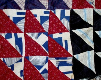 """33 ANTIQUE QUILT BLOCKS 9-patch,9""""x9 blocks 1920's,two large sections,all hand sewn,flowers,geometrics,plaids"""