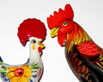 two VINTAGE ROOSTERS,PORTUGAL folk art,wood,ceramic,vg condition,sculpture,hand painted,handmade,red,yellow,blue,marigold,white,green,black