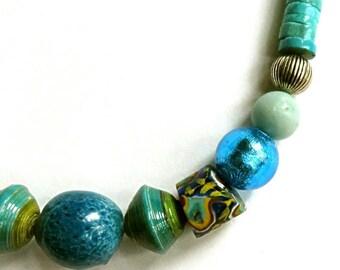 "2 AFRICAN TRADE BEADS,antique Venetian millefioris,17 1/4"" necklace,India ceramic,Uganda wrapped,Murano foil glass,turquoise,aqua,silver"