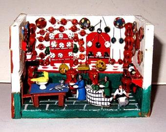 TINY DIORAMA MEXICO folk art restaurant,kitchen,bird,dog,tortilla maker,pans,plates,shrine,people tiny clay objects,clock,chicken, vintage