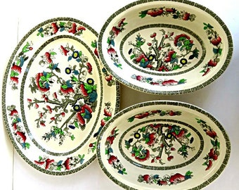 """INDIAN TREE JOHNSON Brothers set,England,3 pieces,12 1/4"""" serving platter,2 oval 9 1/2"""" bowls,multi color,vg,vintage English china,flowers"""