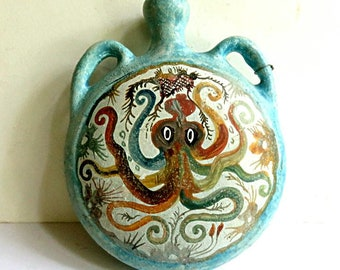 MINOAN OCTOPUS Flask, vintage reproduction of 1500 BC Greek,Crete,Mediterranean Neopalatial Period flat hand painted container,fish,sea life