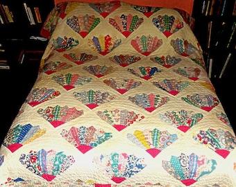 "VINTAGE FAN QUILT 1940's,applique 81""x75"" cotton,flowers,polka dots,plaids,checks,paisleys,blue,aqua,pink,marigold,red,navy,green,white,tan"
