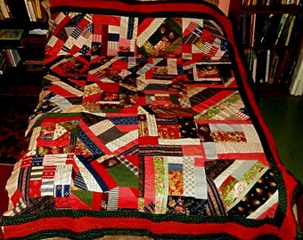 """ANTIQUE CRAZY QUILT,1890-1900,summer quilt,84x62"""",some finishing needed,paisley,indigo,shaker grey,tiny prints,stripes,red,blue,green,navy"""