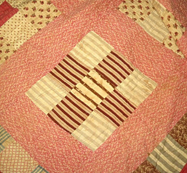 ANTIQUE PIECED QUILT 79x67,beige,peach,pink,brown,tan,coffee,vg condition,cotton,handsewn,9-square pattern,,polka dots,tiny flowers,stripes