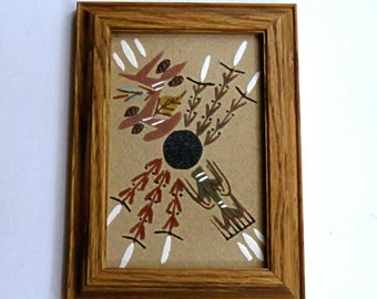 NAVAJO SAND PAINTING,small vintage framed fine art,Sacred Plants,Katsina,deer,signed,Native American art,Southwest art,Johnson,corn,plants