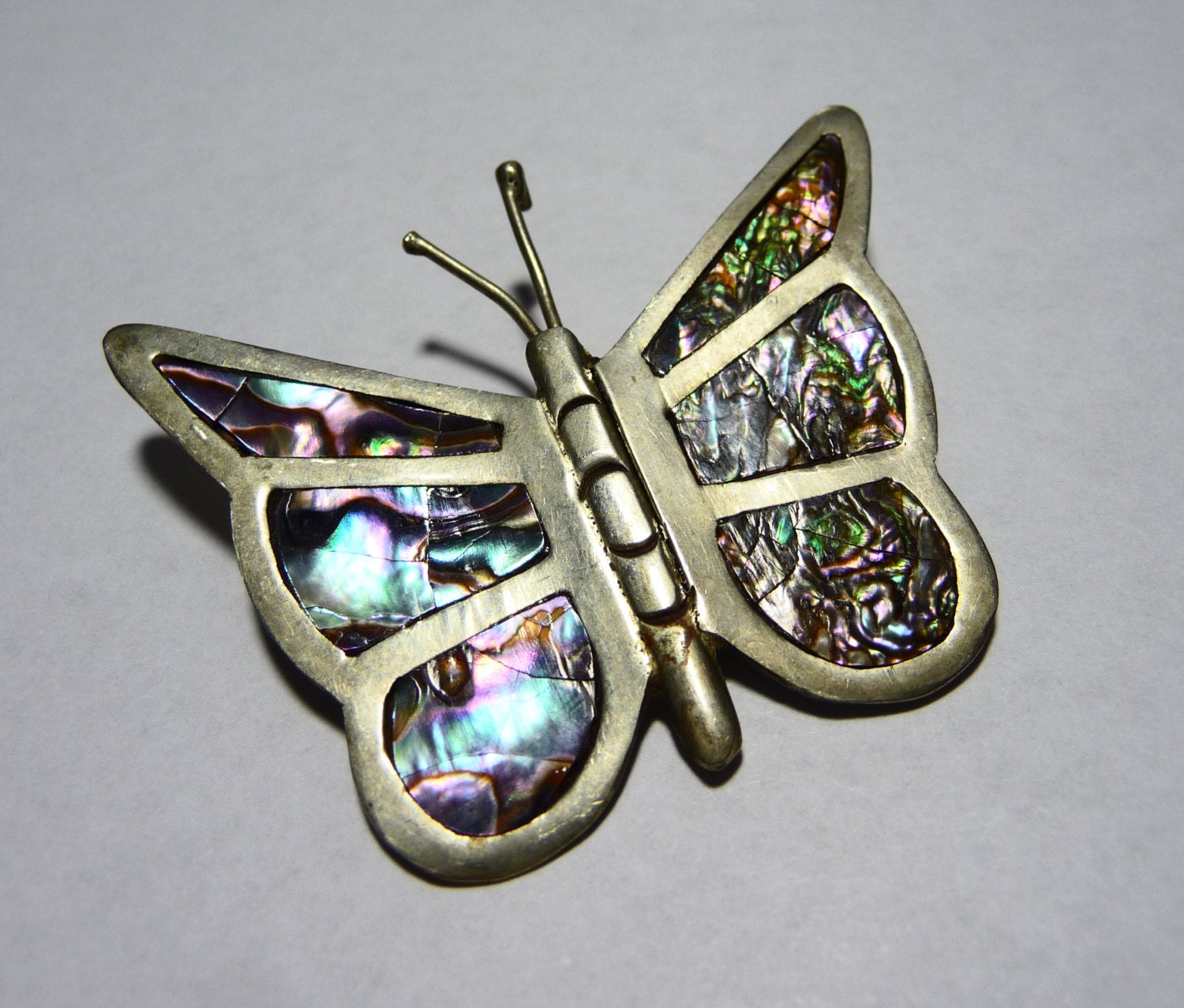 Vintage Sterling Silver Amp Abalone Butterfly Brooch Pin